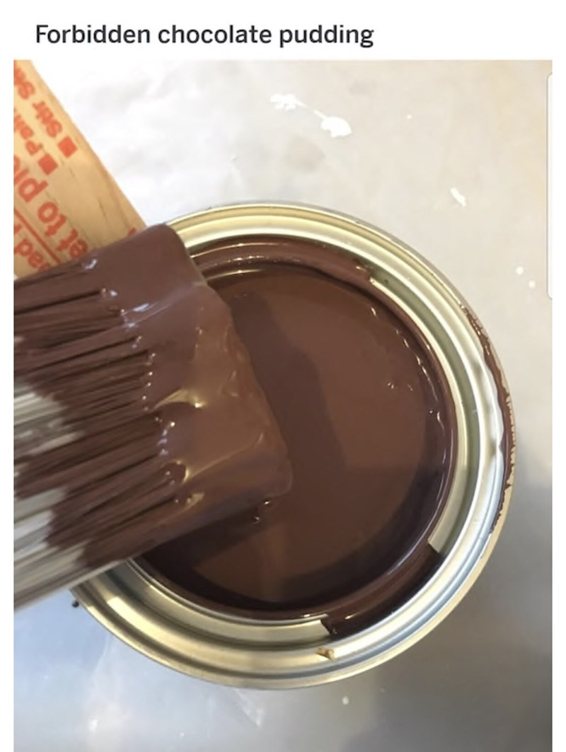 Can of paint that looks like tempting melted chocolate