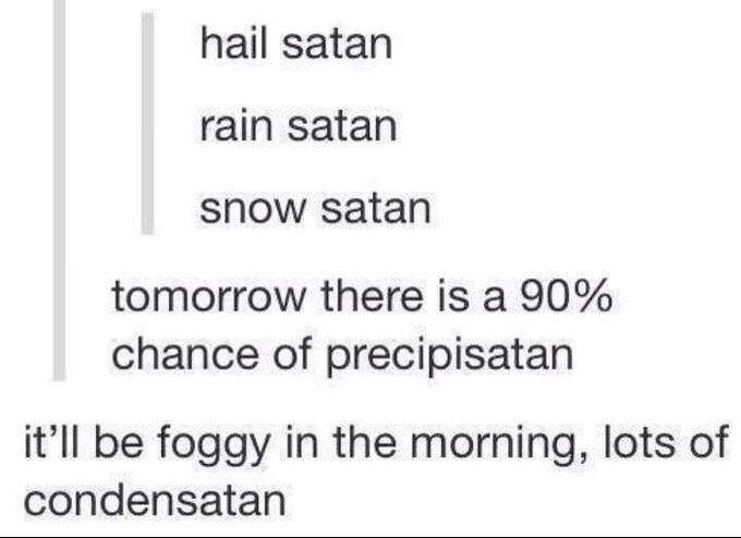Tumblr thread about inserting Satan to the weather forecast