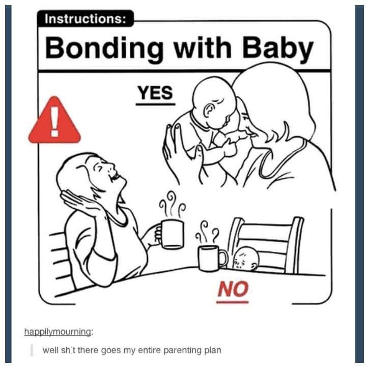 Parenting guide on bonding with baby, telling parenting to play with the baby rather than having a conversation over coffee