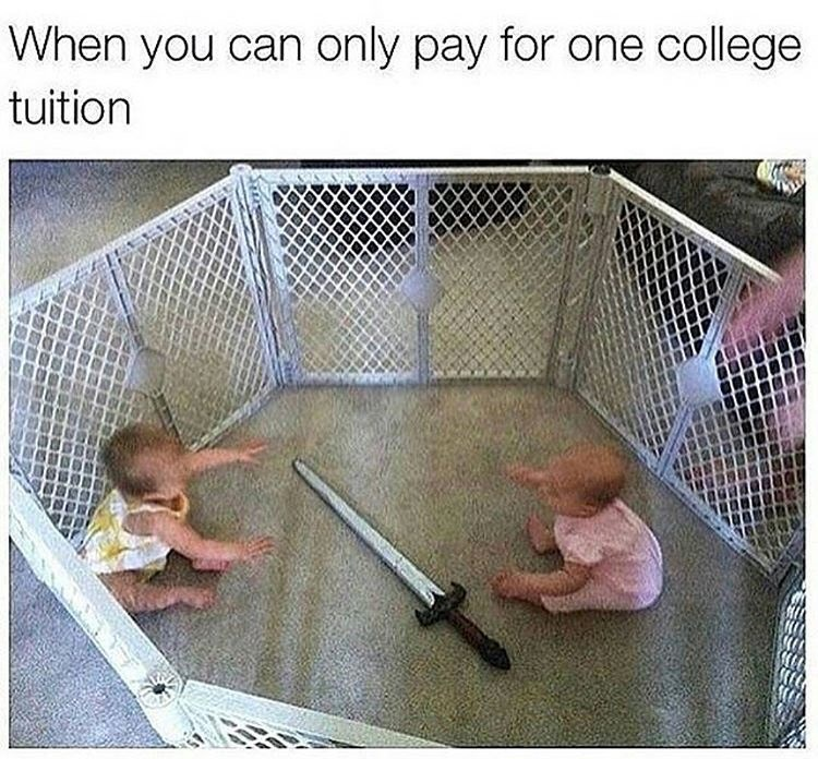 """Picture of two babies in a playpen with a sword in the middle, under the caption, """"When you can only pay for one college tuition"""""""