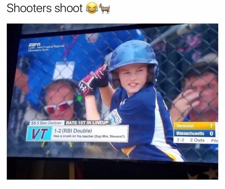 Pic of a kid playing baseball with a bio that says he has a crush on his teacher