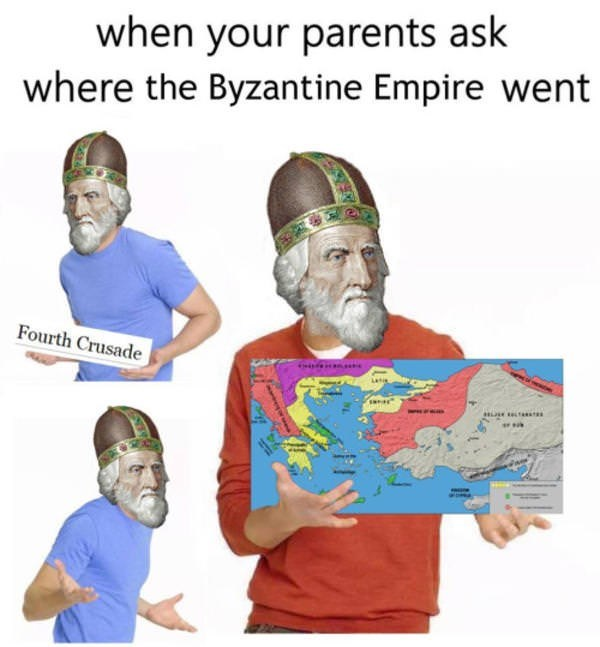 zac efron meme of where did the money go but about the Byzantine empire