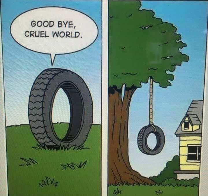 meme image of a tire saying goodbye cruel world and then the tire is hung by rope from the tree