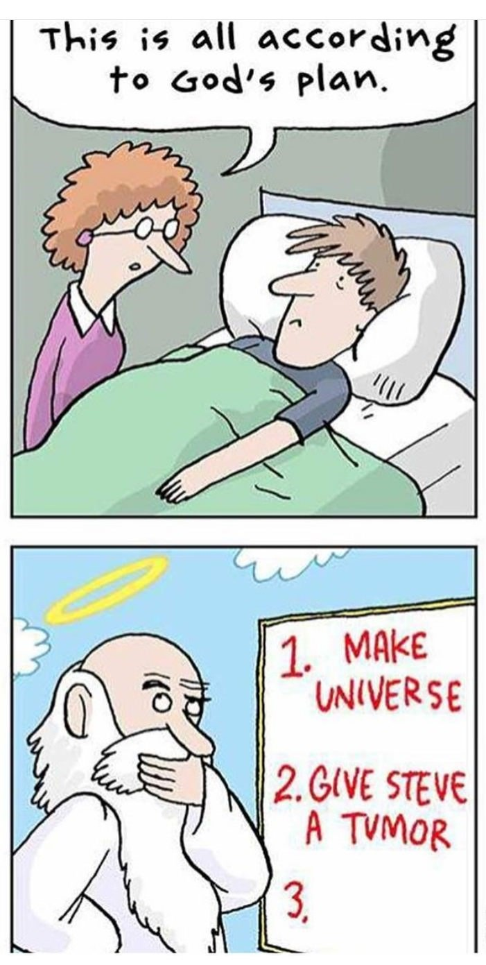 meme image of man in bed and woman saying it's all part of gods plan, image of god writing this on his list