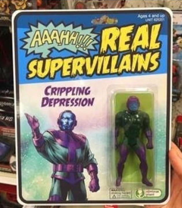 "Action figure of a ""Real Supervillain"" named 'Crippling Depression'"