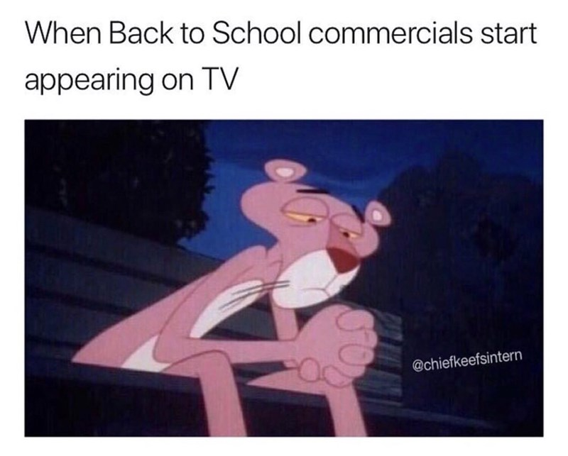 "Pic of the Pink Panther looking sad on a bench under the caption, ""When back to school commercials start appearing on TV"""