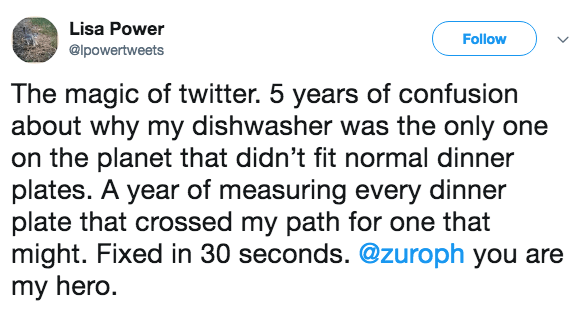 Text - Lisa Power Follow @lpowertweets The magic of twitter. 5 years of confusion about why my dishwasher was the only one on the planet that didn't fit normal dinner plates. A year of measuring every dinner plate that crossed my path for one that might. Fixed in 30 seconds. @zuroph you are my hero.