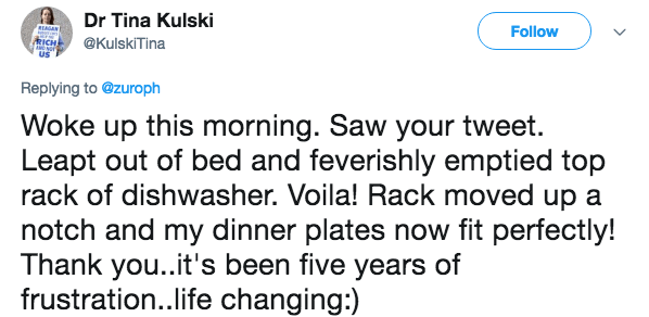 Text - Dr Tina Kulski REAGAN RICH US Follow @KulskiTina Replying to @zuroph Woke up this morning. Saw your tweet. Leapt out of bed and feverishly emptied top rack of dishwasher. Voila! Rack moved up a notch and my dinner plates now fit perfectly! Thank you..it's been five years of frustration..life changing:)
