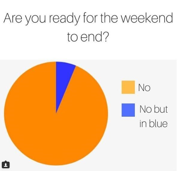 pie chart about not wanting the weekend to end
