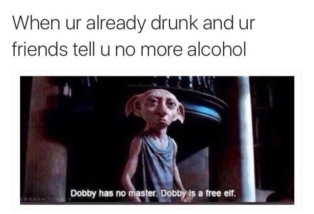 meme about continuing to drink after getting drunk with pic of Dobby from Harry Potter saying he's a free elf