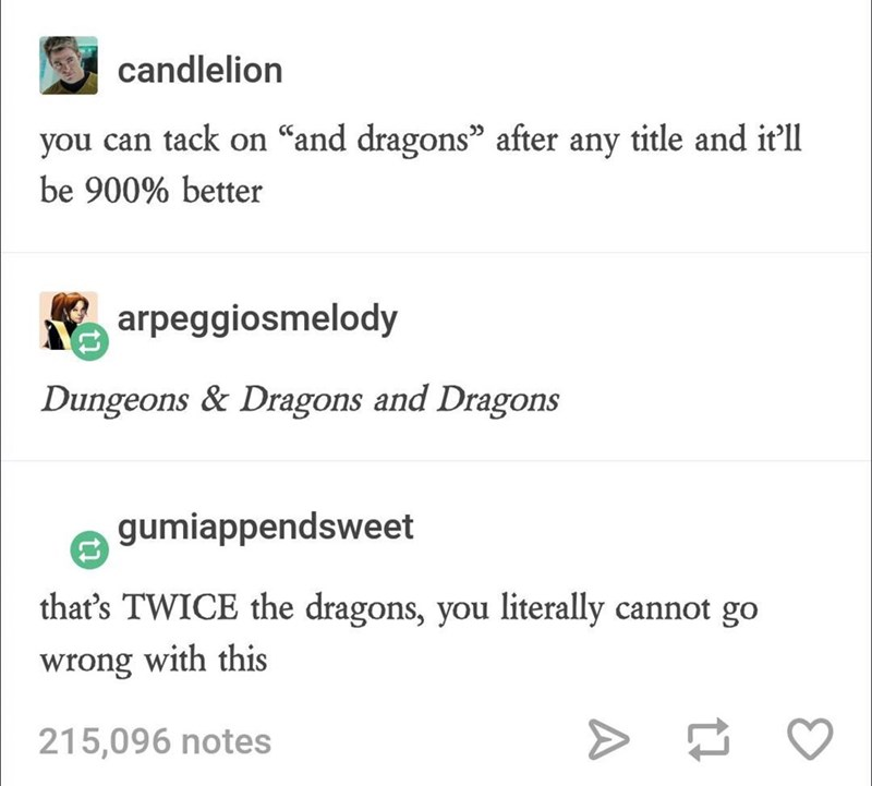 tumblr thread about adding AND DRAGONS after any title