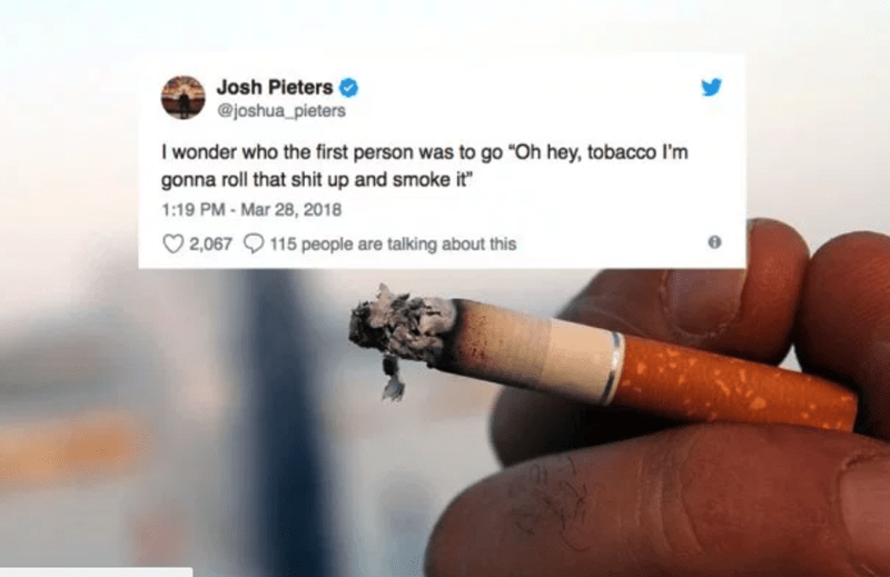 funny tweet about the first person who smoke tobacco 4m6c9hx