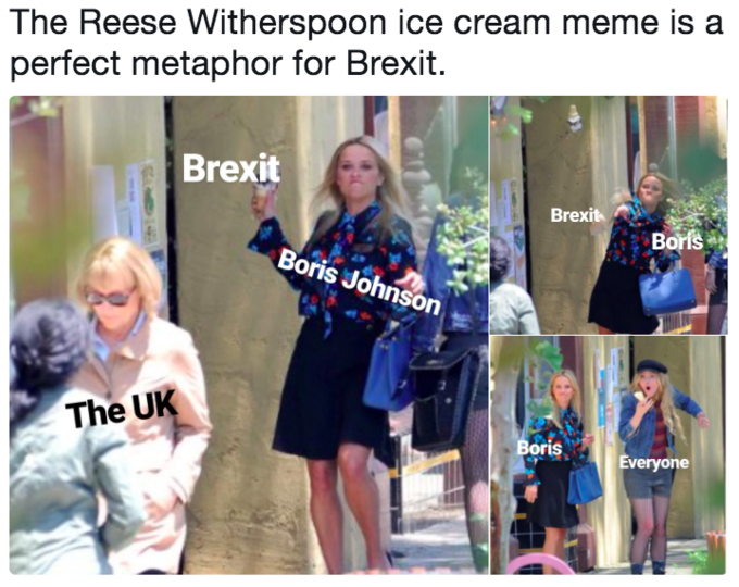 Reese Witherspoon represents 'Boris Johnson,' the ice cream cone represents 'Brexit' and Meryl Streep represents 'The UK'