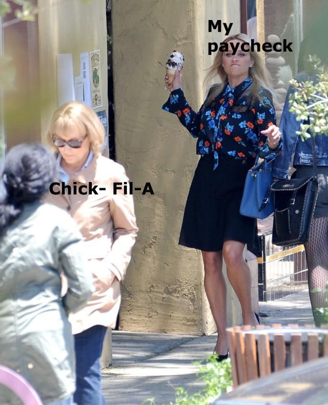 Reese Witherspoon represents 'my paycheck' and Meryl Streep represents 'Chick-Fil-A'