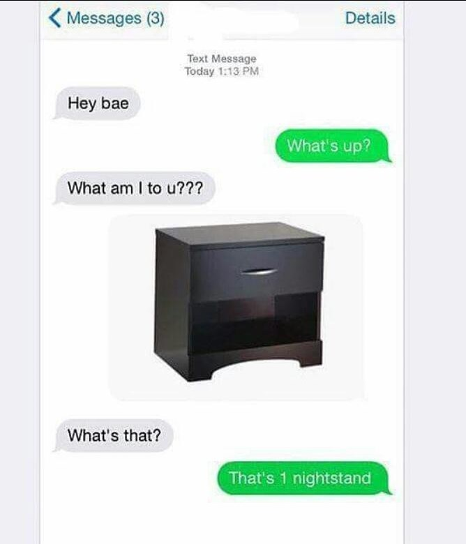 Sunday meme of a partner comparing their partner to a nightstand