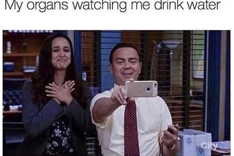 Sunday meme about your body getting excited when you drink water