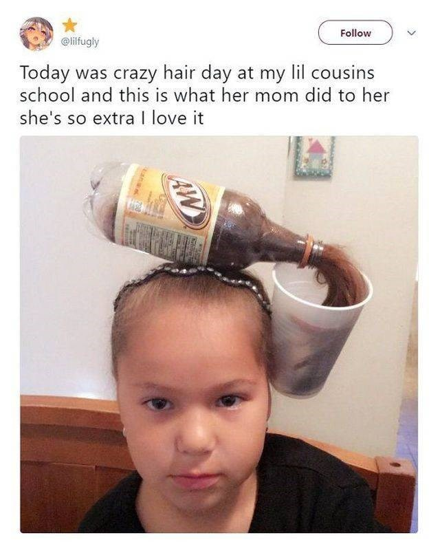 wholesome meme - Head - Follow @lilfugly Today was crazy hair day at my lil cousins school and this is what her mom did to her she's so extra I love it AW