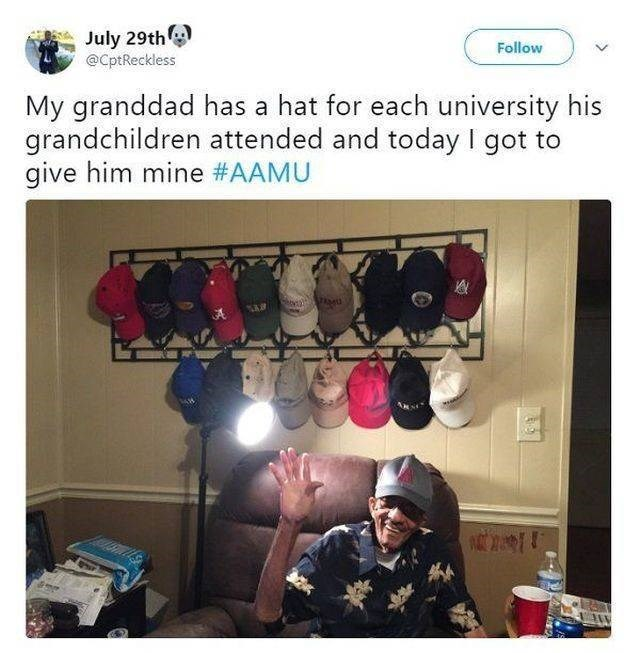 wholesome meme - Selfie - July 29th @CptReckless Follow My granddad has a hat for each university his grandchildren attended and today I got to give him mine #AAMU
