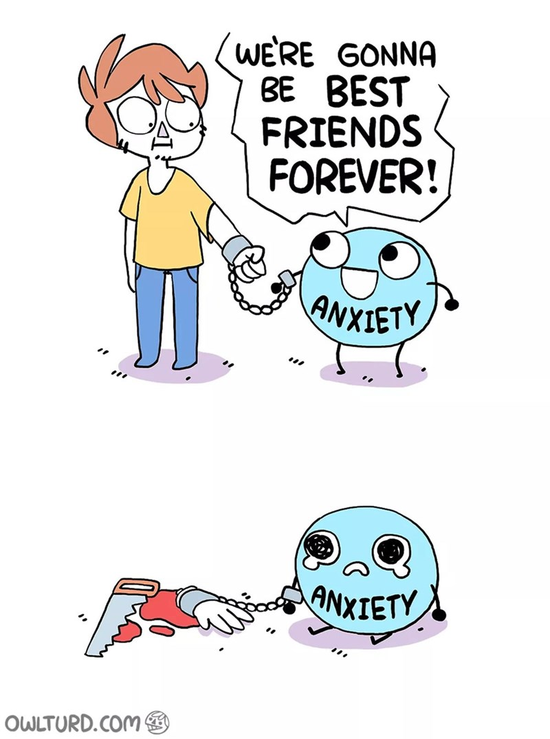 Cartoon - WERE GONNA BE BEST FRIENDS FOREVER! ANXIETY ANXIETY OWLTURD.COM