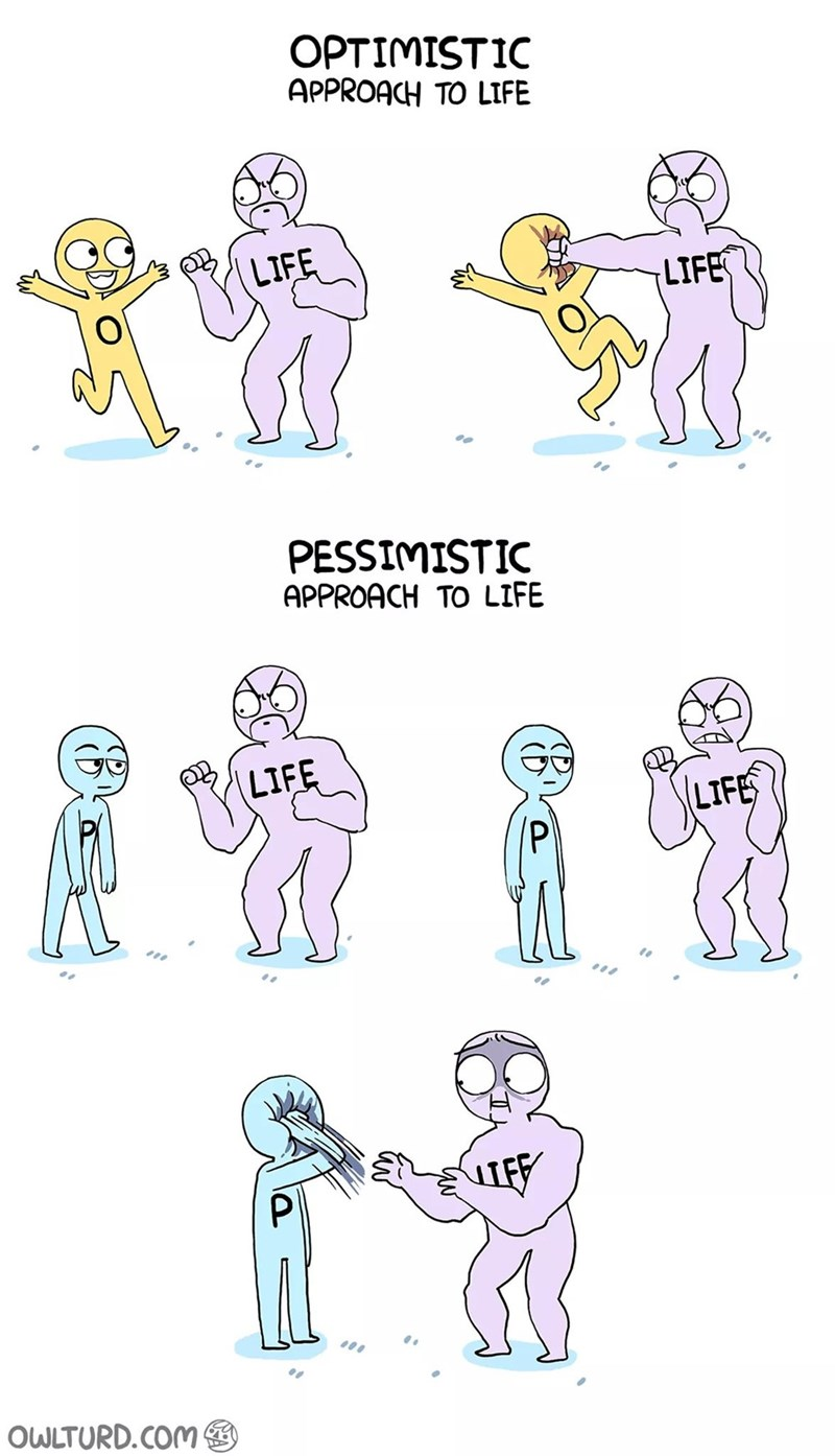 Line art - OPTIMISTIC APPROACH TO LIFE LIFE LIFE PESSIMISTIC APPROACH TO LIFE LIFE Jure LIFE (D