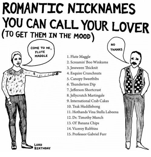 Standing - ROMANTIC NICKNAMES YOU CAN CALL YOUR LOVER TO GET THEM IN THE MOOD NO COME TO ME, THANKS FLUTE MAGGLE 1. Flute Maggle 2. Screamin' Boo Winkums 3. Jessween Thicknit 4. Esquire Crunchnuts 5. Canopy Sweetbibs 6. Thunderton Dip 7.Jefferson Shortcrust 8. Jellycrutch Martingale 9. International Crab Cakes 10. Teak Huddlebong 11. Hothands Vina Stella Labeena 12. Dr. Timothy Munch 13. Ol' Banana Chips 14. Viceroy Rubbins 15. Professor Gabriel Furr LORD BIRTHDAY