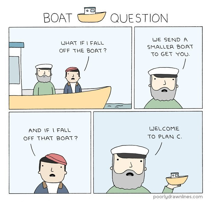 Cartoon - BOAT QUESTION WE SEND A WHAT IF I FALL SMALLER BOAT OFF THE BOAT? TO GET YOU. WELCOME AND IF I FALL TO PLAN C. OFF THAT BOAT? oD poorlydrawnlines.com