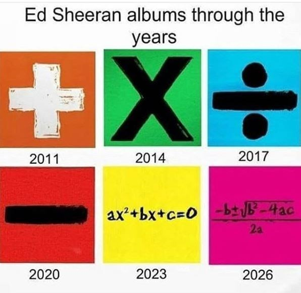 """""""Ed Sheeran albums through the years"""" that starts with a plus sign and ends with come complex mathematical formulas"""