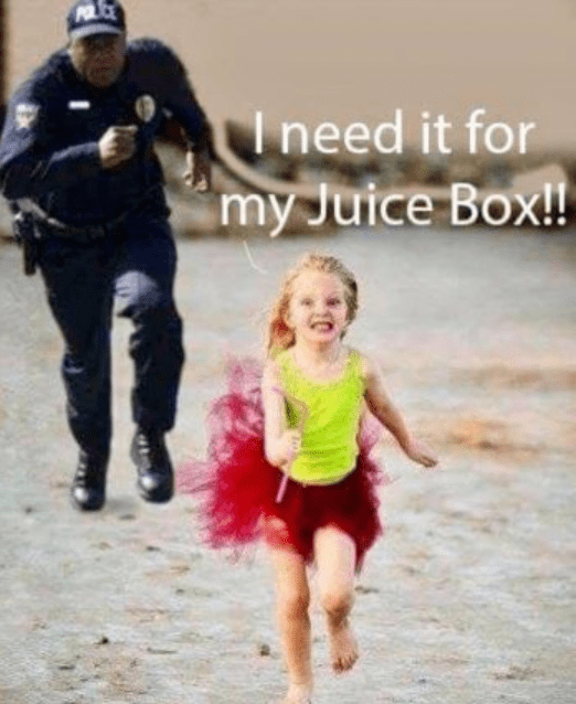 cop chasing kid with straw in her hand
