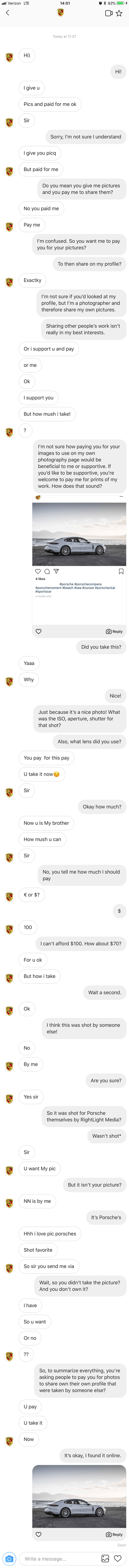 idiot online trying to get a photographer to pay for a online picture of a porsche that he is trying to claim as his own