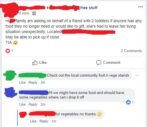 facebook post of asking for toddler food and someone offers vegetables and they lol