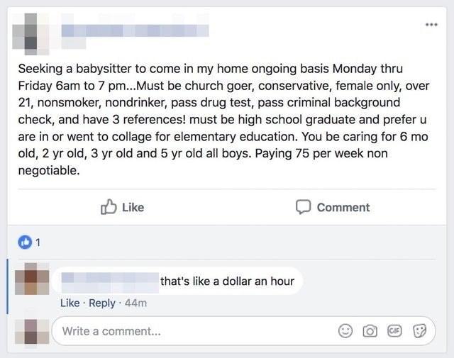 high demand job posting for like a dollar an hour