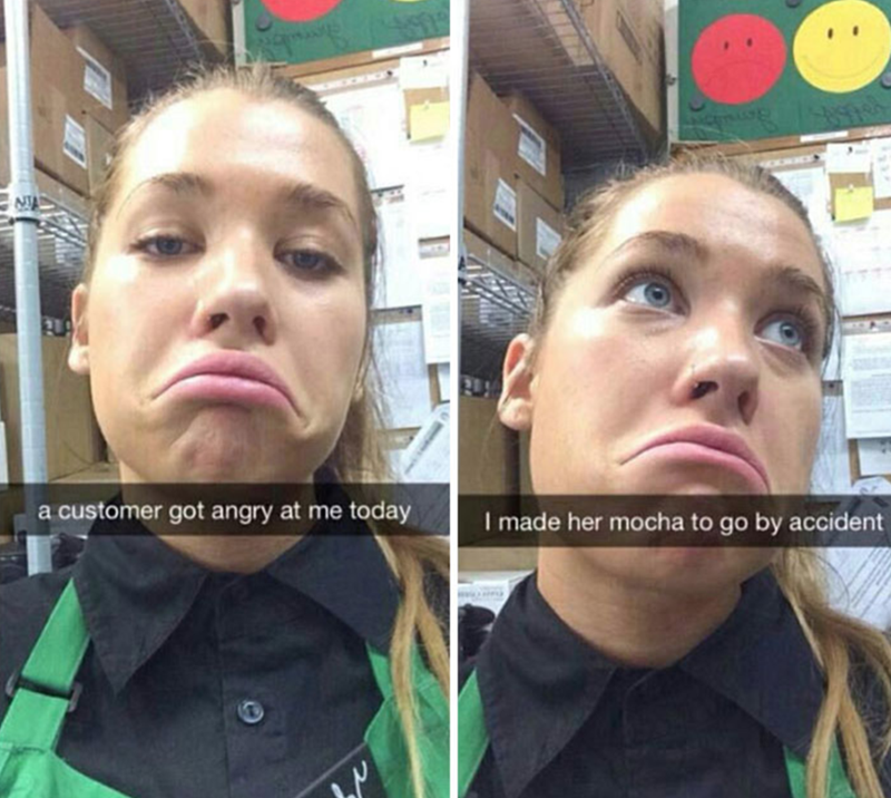 Face - a customer got angry at me today I made her mocha to go by accident