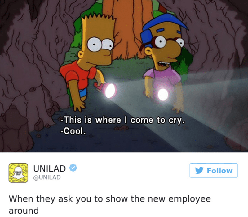 Cartoon - This is where I come to cry. -Cool. UNILAD Follow @UNILAD When they ask you to show the new employee around
