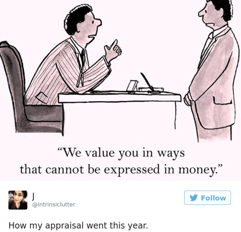 """Cartoon - """"We value you in ways that cannot be expressed in money."""" J @intrinsiclutter Follow How my appraisal went this year."""