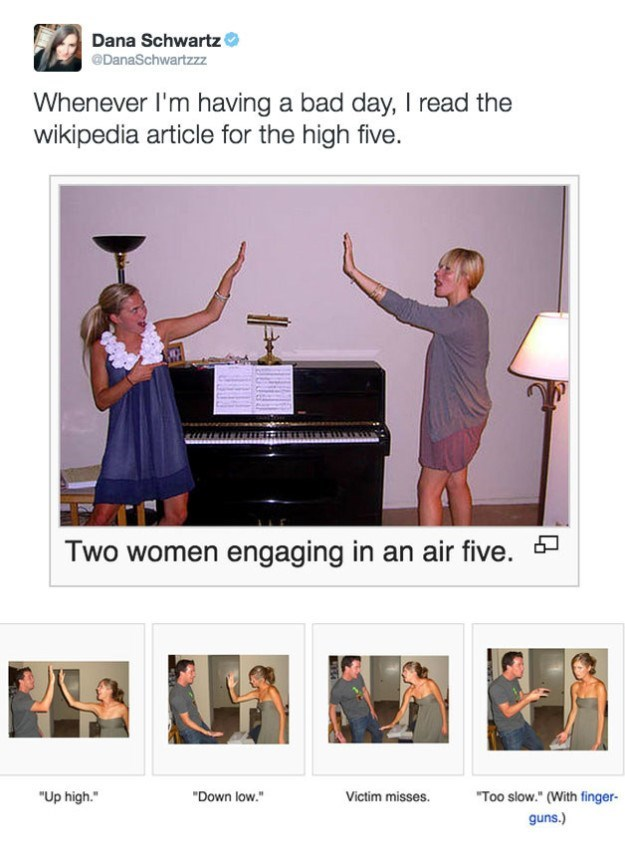 Funny Wikipedia article demonstrating what high-fives are