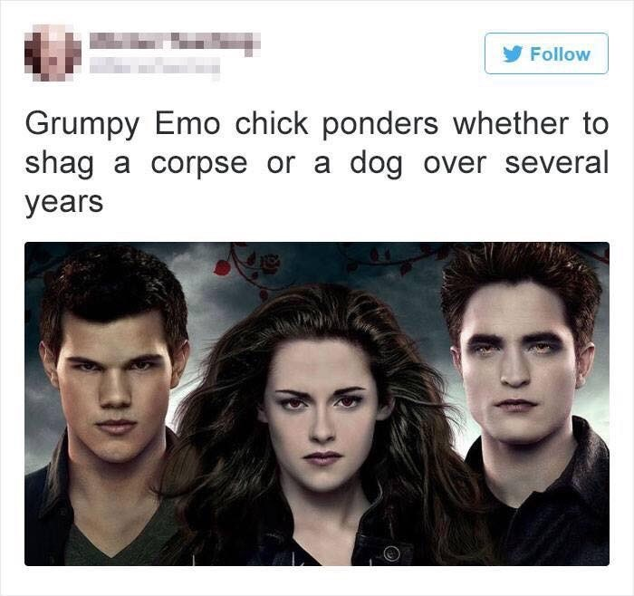 Face - Follow Grumpy Emo chick ponders whether to shag dog over several a corpse or a years