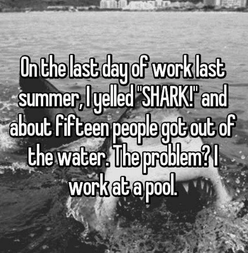 Text - Onthe last day of wark last summer,lyelled SHARKIand about Fifteen people got out of the water The problem? workatapool