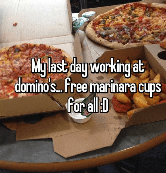 Dish - My last day working at domino's.. free marinara cups for all D