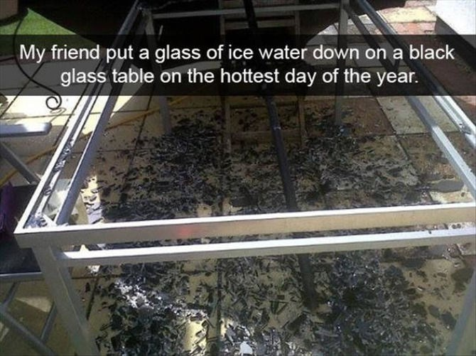 snapchat - Table - My friend put a glass of ice water down on a black glass table on the hottest day of the year.