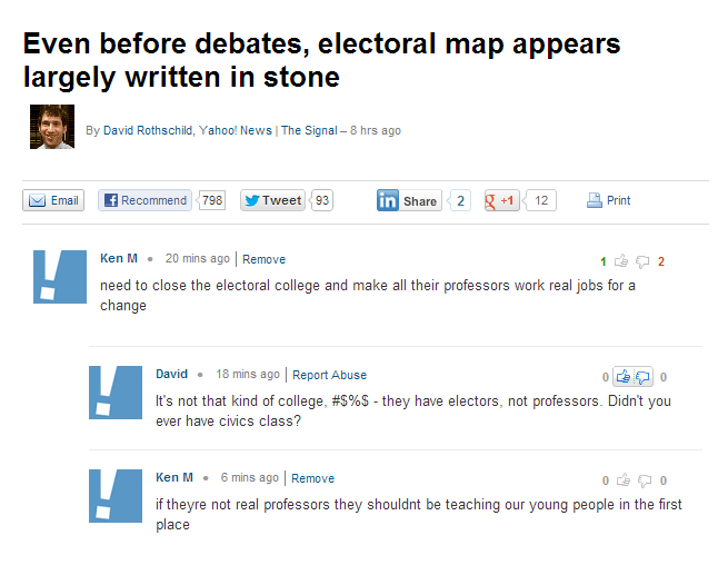Text - Even before debates, electoral map appears largely written in stone By David Rothschild, Yahoo! News | The Signal - 8 hrs ago Email 798 2 +1 Print Recommend Tweet 93 in Share 12 Ken M 20 mins ago Remove 1 2 need to close the electoral college and make all their professors work real jobs for a change 18 mins ago Report Abuse David 0 It's not that kind of college, #S%$ - they have electors, not professors. Didn't you ever have civics class? Ken M 6 mins ago Remove 0 0 if theyre not real pro