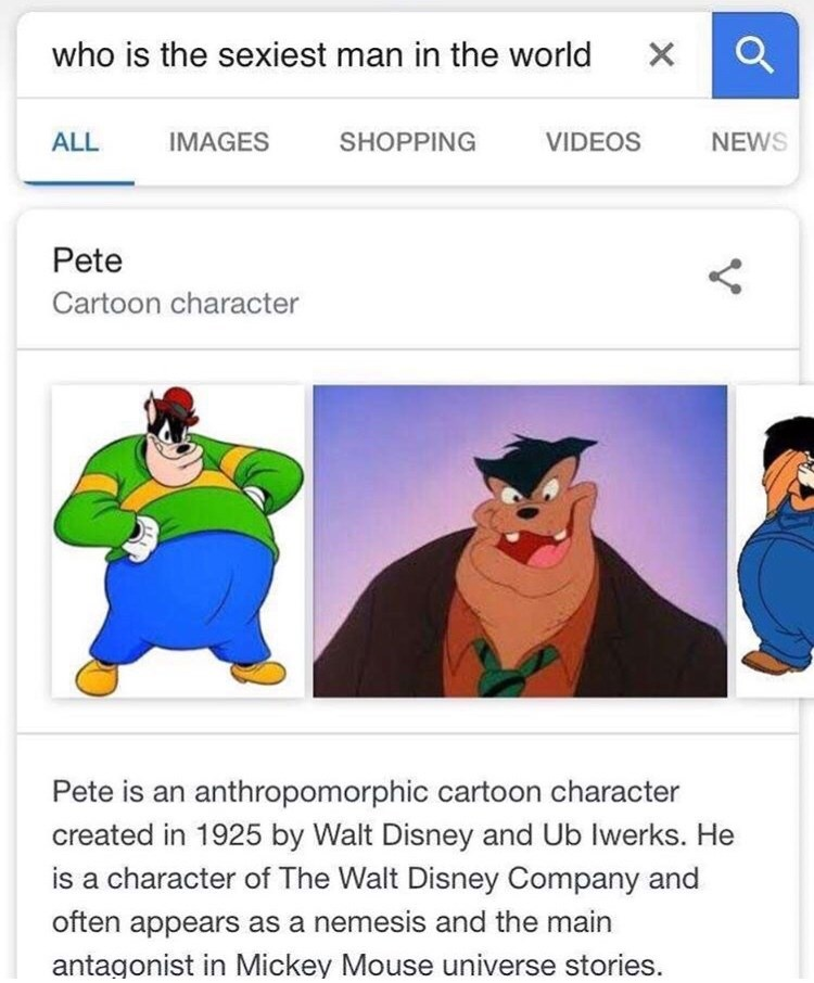 Cartoon - who is the sexiest man in the world X IMAGES SHOPPING ALL VIDEOS NEWS Pete Cartoon character Pete is an anthropomorphic cartoon character created in 1925 by Walt Disney and Ub lwerks. He is a character of The Walt Disney Company and often appears as a nemesis and the main antagonist in Mickey Mouse universe stories.