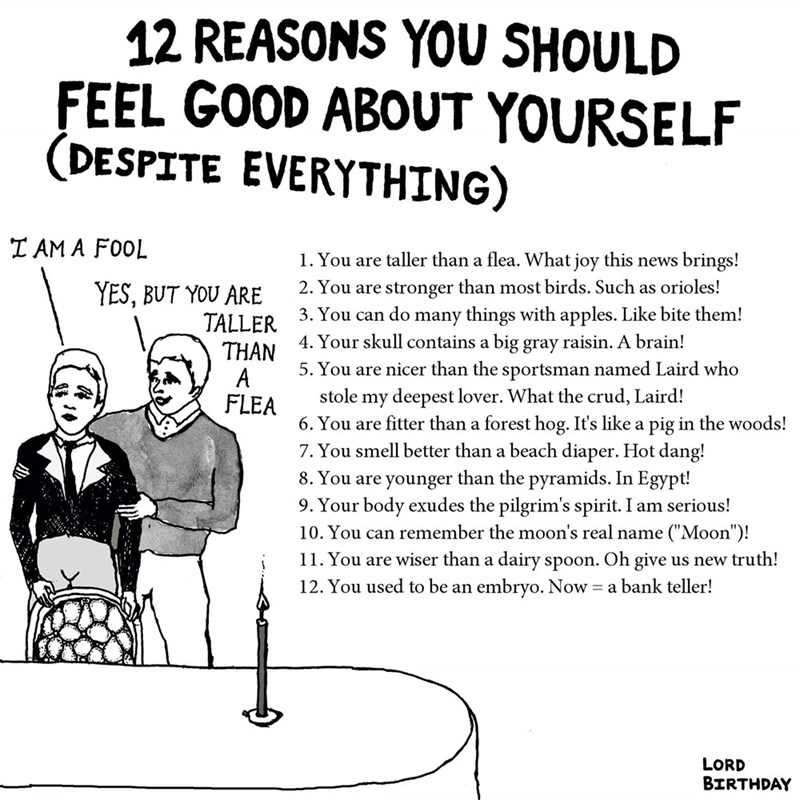 Text - 12 REASONS YOU SHOULD FEEL GOOD ABOUT YOURSELF (DESPITE EVERYTHING) IAM A FOOL 1. You are taller than a flea. What joy this news brings! 2. You are stronger than most birds. Such as orioles! YES, BUT YOU ARE 1 3. You can do many things with apples. Like bite them! 4. Your skull contains a big gray raisin. A brain! 5. You are nicer than the sportsman named Laird who TALLFR THAN A FLEA stole my deepest lover. What the crud, Laird! 6. You are fitter than a forest hog. It's like a pig in the