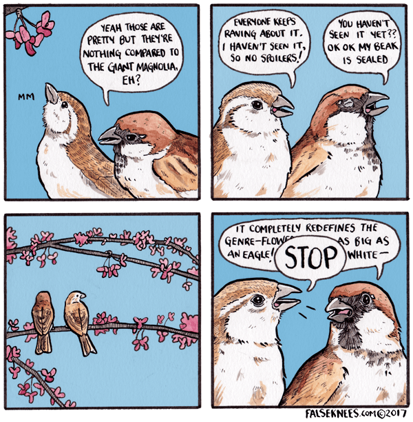 webcomic bird - Cartoon - EVERNONE KEEPS RAVING ABOUT IT. 1 HAVEN'T SEEN IT, So NO SfolLERS, YOu HAVEN'T SEEN IT NET?? OK OK MY BEAK IS SEALED YEAH THOSE ARE PRETTY BUT THEYRE NOTHING COMPARED TO THE GANT MAGNOLIA EN? MM IT COMPLETELY REDEFINES THE S BIG AS WHITE GENRE-FLOW m ewaunmne A EALESTOP FALSEKNEES.cor@2017