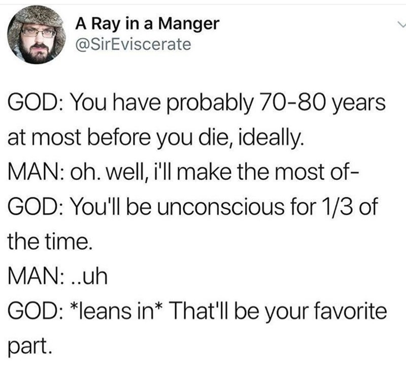 Text - A Ray in a Manger @SirEviscerate GOD: You have probably 70-80 years at most before you die, ideally. MAN: oh. well, i'll make the most of- GOD: You'll be unconscious for 1/3 of the time. MAN: .uh GOD: *leans in* That'll be your favorite part.