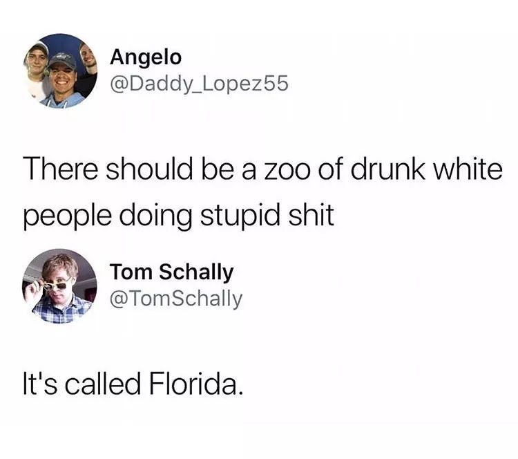 Text - Angelo @Daddy_Lopez55 There should be a zoo of drunk white people doing stupid shit Tom Schally @TomSchally It's called Florida.