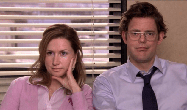 The office pam and jim but played by dwight and angela