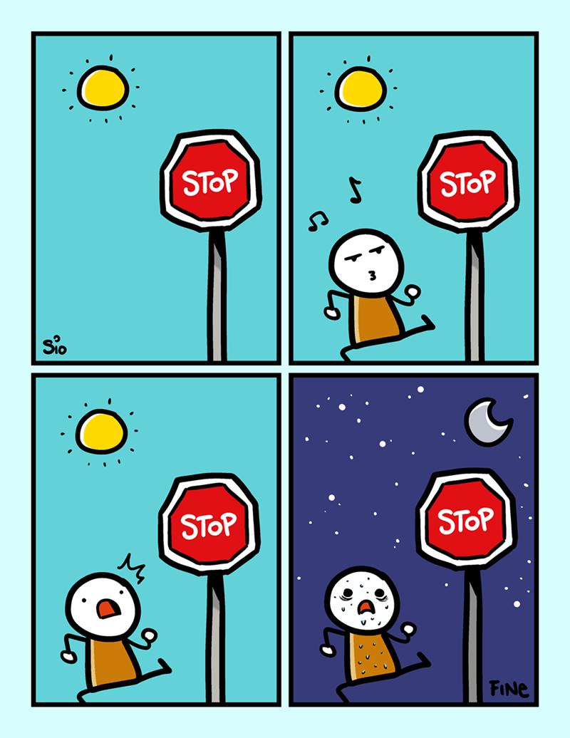 cuando te tomas muy en serio a los anuncios de stop