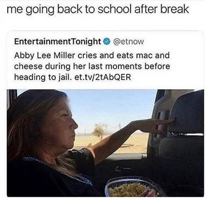 meme about going back to school comparing to a woman going to jail