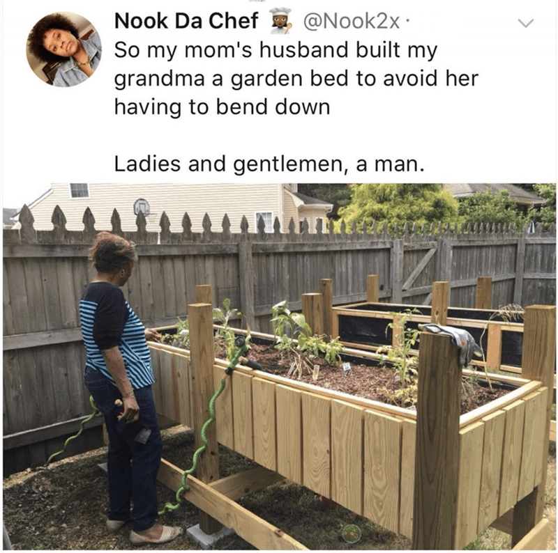 Compost - Nook Da Chef@Nook2x So my mom's husband built my grandma a garden bed to avoid her having to bend down Ladies and gentlemen, a man.