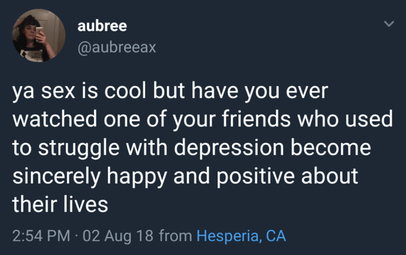 Text - aubree @aubreeax ya sex is cool but have you ever watched one of your friends who used to struggle with depression become sincerely happy and positive about their lives 2:54 PM 02 Aug 18 from Hesperia, CA